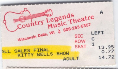 Kitty Wells ticket stub