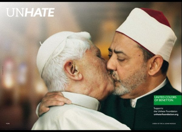 Benedict XVI and Ahmed Tayeb photoshop-kiss