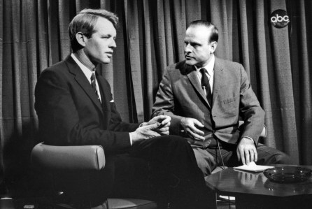 "ABC NEWS - ""Race to the White House"" - Robert F. Kennedy sits with ABC News correspondent, Robert Clark during the 1968 Indiana Primary (ABC Photo Archives) ROBERT F. KENNEDY; ROBERT CLARK"