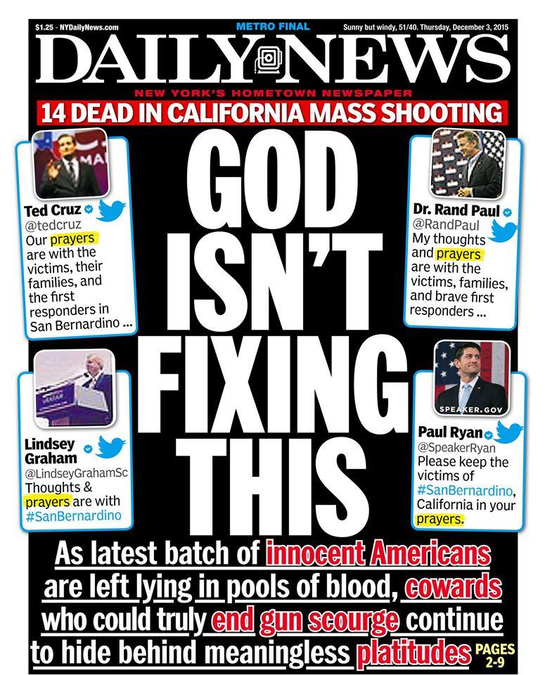 Newspaper Front Page: Republican Fake Tears Over San Bernardino ...