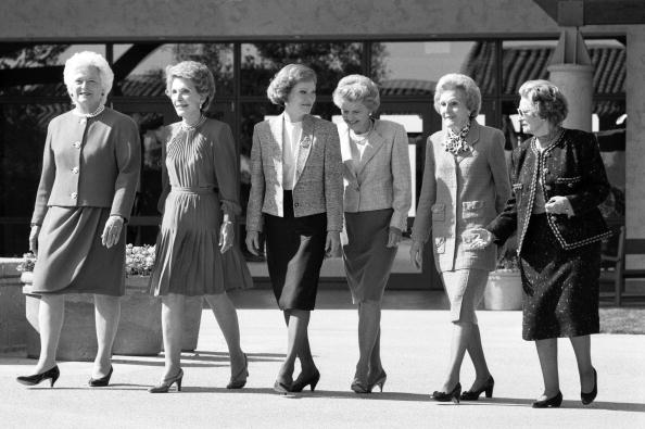 CALIFORNIA - NOVEMBER 4: (NO U.S. TABLOID SALES) U.S. First Ladies (L-R) Barbara Bush, Nancy Reagan, Rosalynn Carter, Betty Ford, Pat Nixon, and Lady Bird Johnson attend former President Ronald Reagan's Library dedication November 4, 1991 in Simi Valley,California. (Photo by David Hume Kennerly/Getty Images)