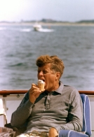 """ST-C291-20-63  31 August 1963  President Kennedy aboard the """"Honey Fitz"""", off Hyannis Port, Massachusetts. Photograph by Cecil Stoughton, White House, in the John F. Kennedy Presidential Library and Museum, Boston."""