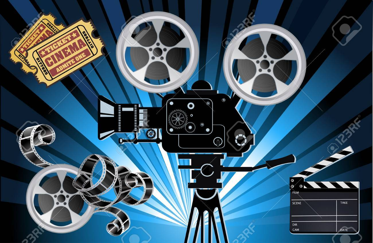 Film Reels, Clapper board and movie projector
