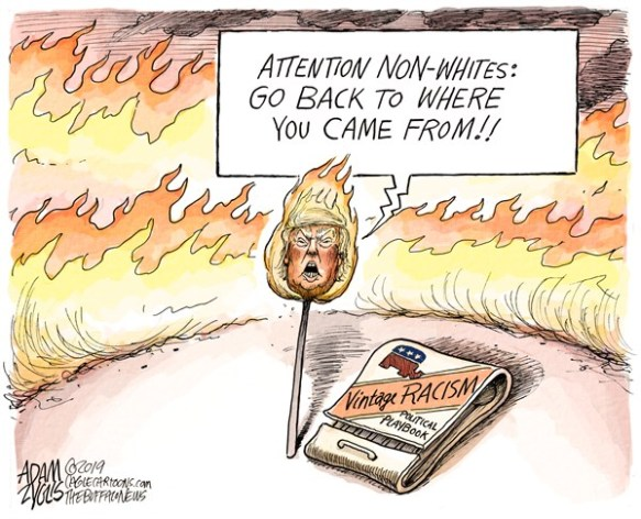 Political Cartoons About Trump S Racist Tweet Caffeinated Politics