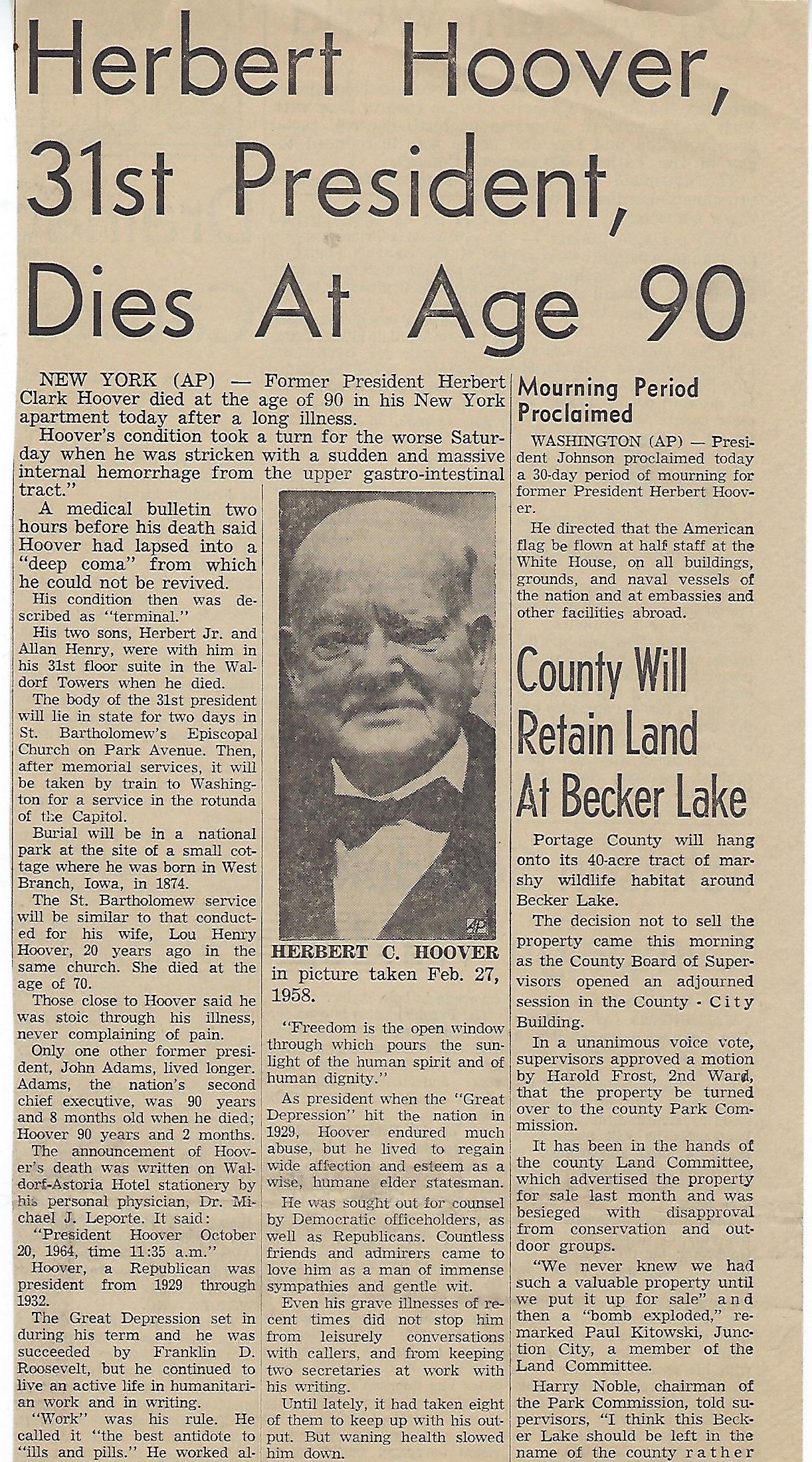 Hoover Dies