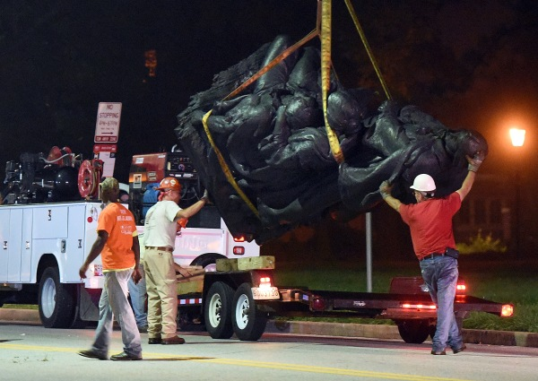 Confederate monuments taken down in Baltimore overnight